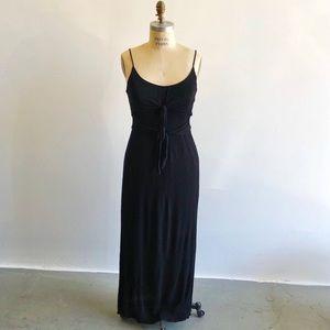 WAYF Black Maxi Dress + Double Front Tie Detailing